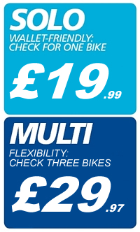 The cheapest yet most comprehensive UK motorbike specific check available!